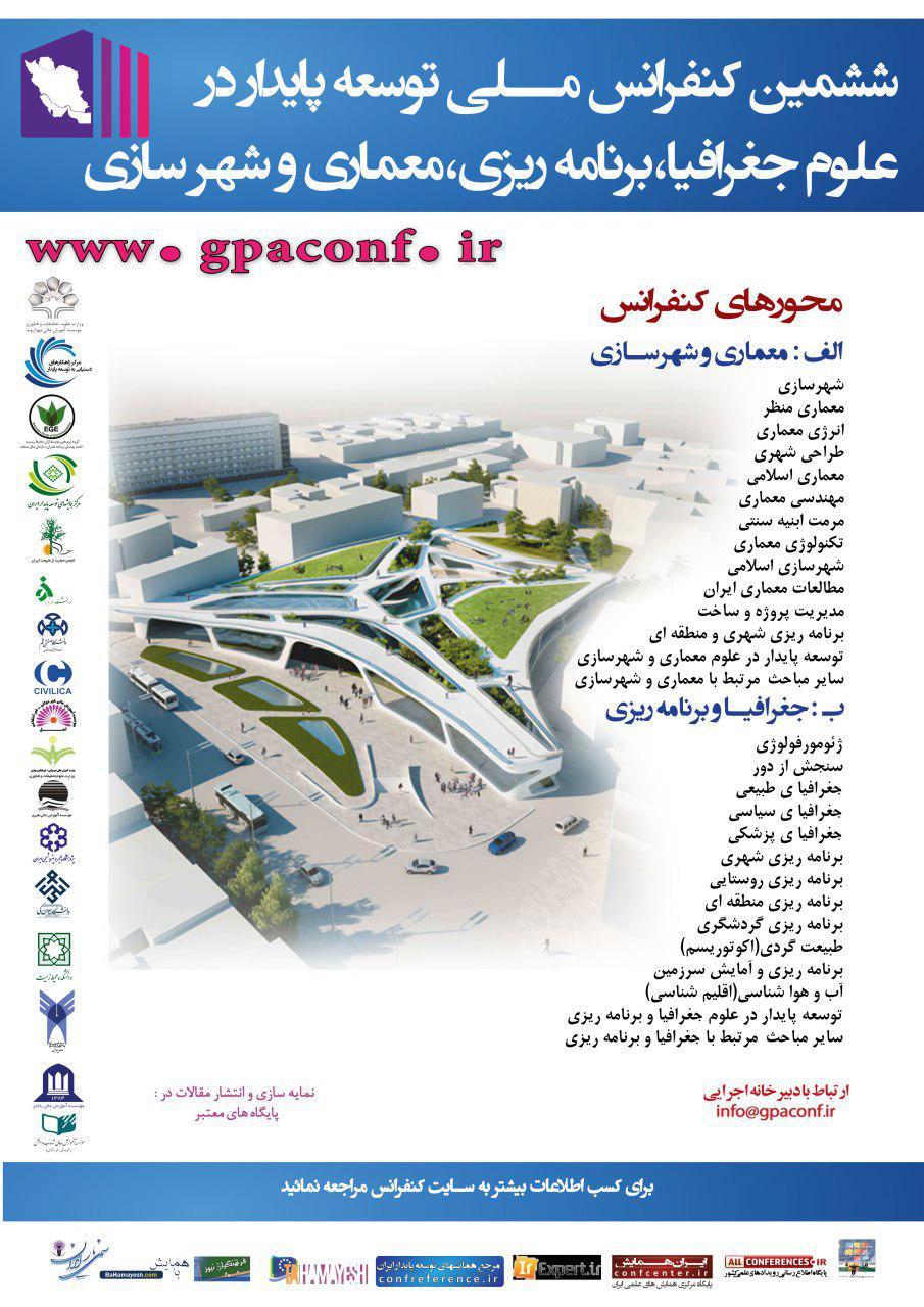 پوستر ششمین کنفرانس ملی توسعه پایدار در علوم جغرافیا برنامه ریزی معماری و شهرسازی