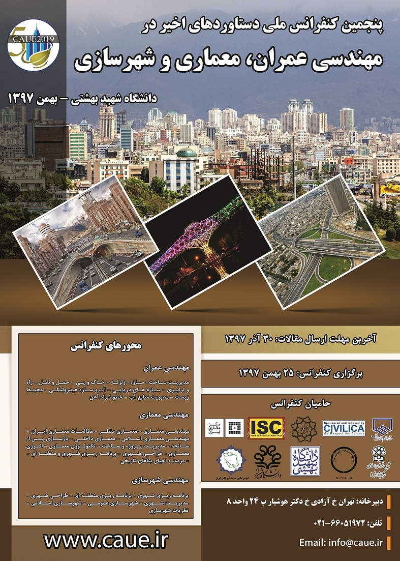 پوستر پنجمین کنفرانس ملی دستاوردهای اخیر در مهندسی عمران،معماری و شهرسازی